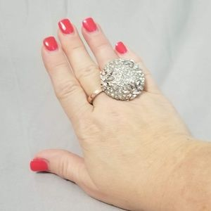 Dome top ring with gems